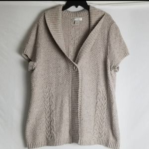 CHRISTOPHER & BANKS ONE BUTTON KNIT CARDIGAN BEIGE